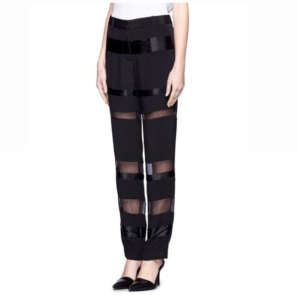 3.1 Phillip Lim Black Sheer Organza Trousers